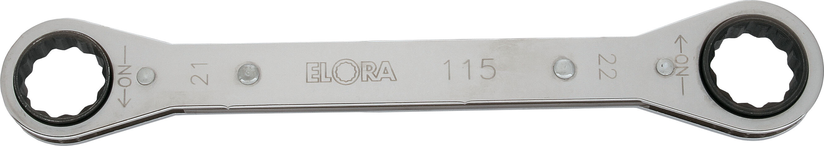 ELORA Ratchet Ring Spanner, straight, ELORA-115-8x9 mm