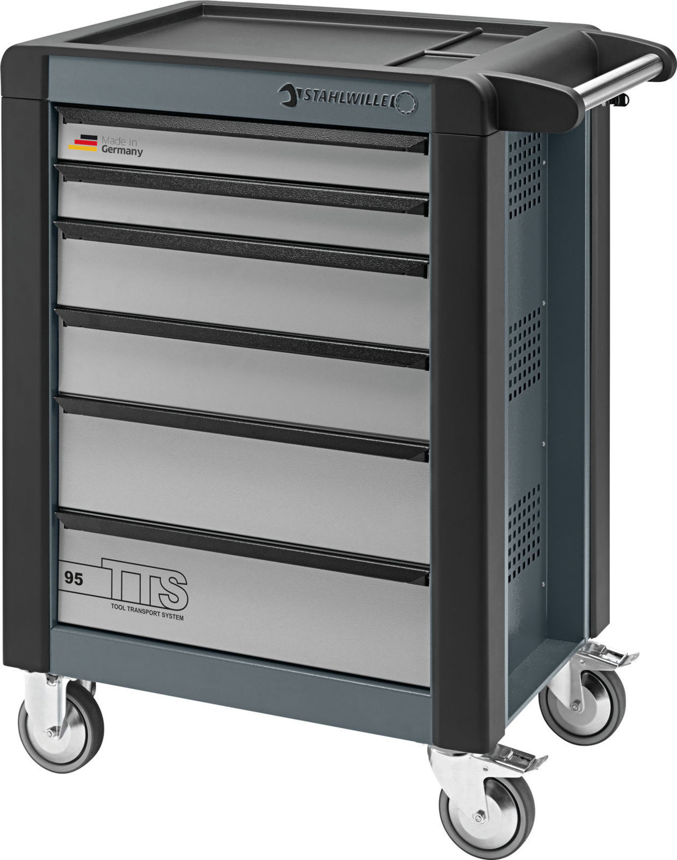 Stahlwille Tool Trolleys TTS 6 drawers charcoal grey, RAL 7016 L.823 mm x W.497 mm x H.1021 mm, No. 95/6A, RAL 7016